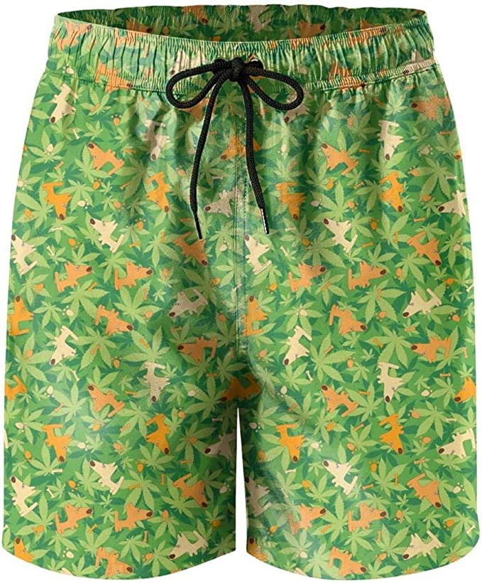 Microfiber Cannabis Marijuanas Ganja Stretch Board Swim Mens Shorts Sporty