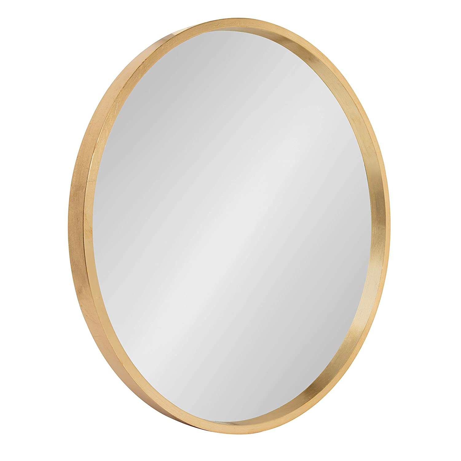 Kate and Laurel Travis Round Wood Accent Wall Mirror, 21.6 Diameter, Gold 21.6 Diameter Uniek 213124