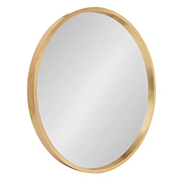 Kate and Laurel Travis Round Wood Accent Wall Mirror, 21.6  Diameter, Gold