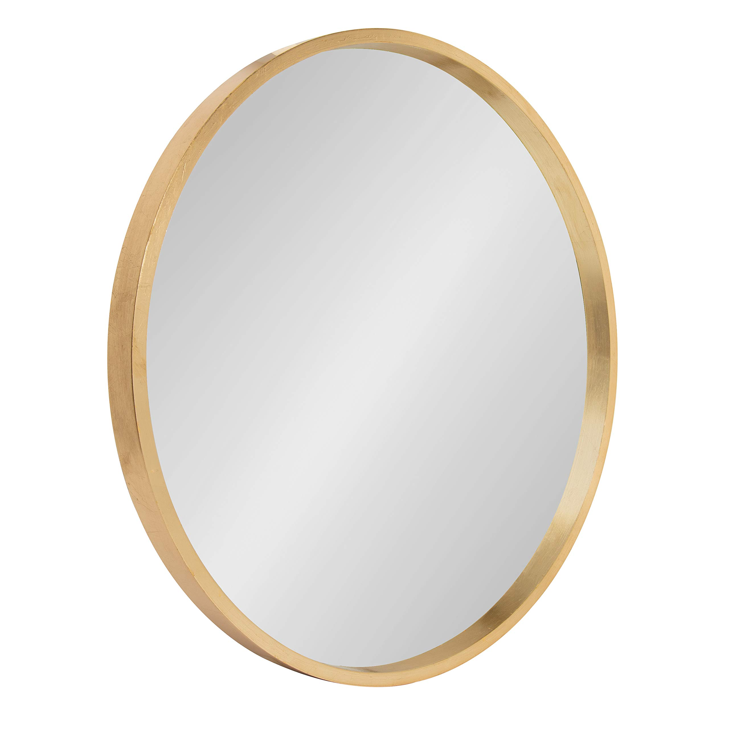 Kate and Laurel Travis Round Wood Accent Wall Mirror, 21.6'' Diameter, Gold