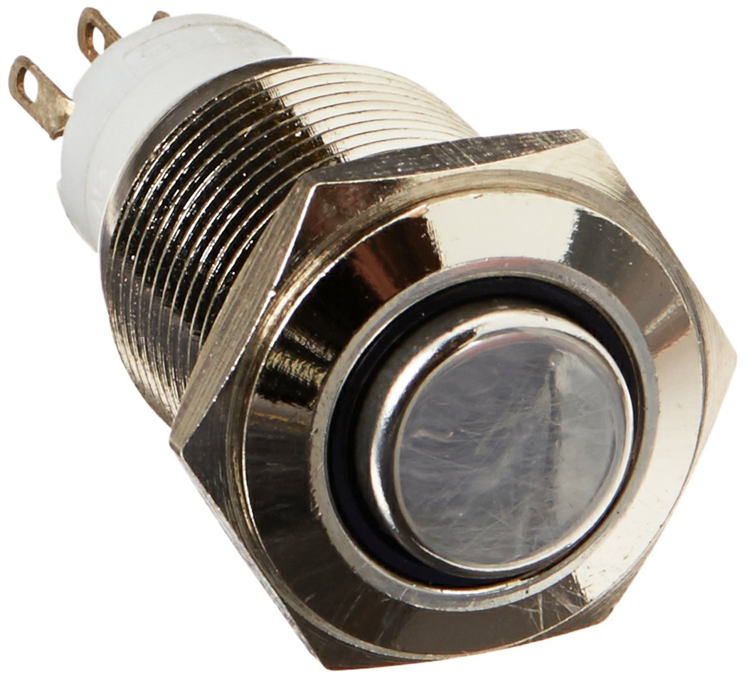 Uxcell Stainless DC 24V Ring LED Latching SPDT Push Button Switch