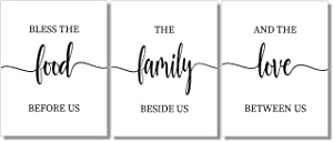 Bless the Food Before Us Art Prints - Dining Room Wall Decor - Set of 3-8x10 - Unframed