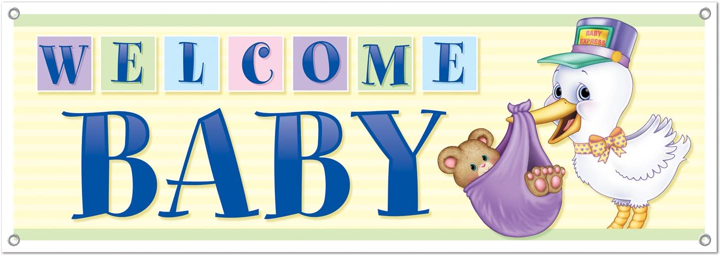 Amazon Com Welcome Baby Sign Banner Party Accessory 1 Count 1 Pkg Kitchen Dining