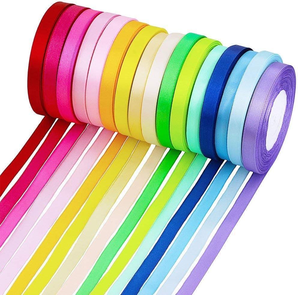 MINGZE Cintas de raso de 365 m, Cinta de Tela, 16 rollos de satén de seda, Cinta de tela de 1 cm de ancho, 16 colores Embellecen la cinta de la cinta para arcos Regalos de artesanía Boda fiesta