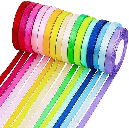 Cinta de Tela 16 colores Embellecen la cinta de la cinta para arcos Regalos de artesan/ía Boda fiesta 16 rollos de sat/én de seda MINGZE Cintas de raso de 365 m Cinta de tela de 1 cm de ancho