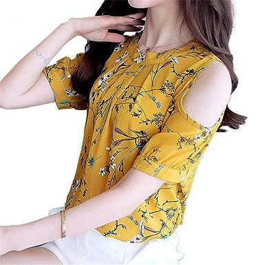 cc93b11d1eb1d7 Image Unavailable. Image not available for. Color  OUXIANGJU Womens Chiffon  Floral Shirt Open Shoulder ...