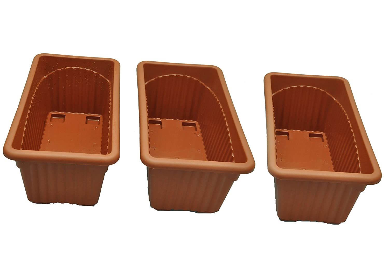 First Smart Deal Plastic Rectangle Pot (Brown, Pack of 3)