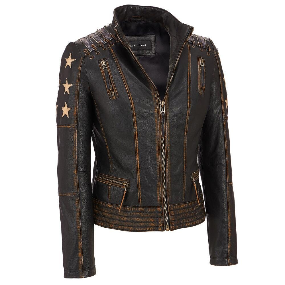 Black Rivet Womens Distressed Stars And Stripes Center Zip Leather Jacket S Blac