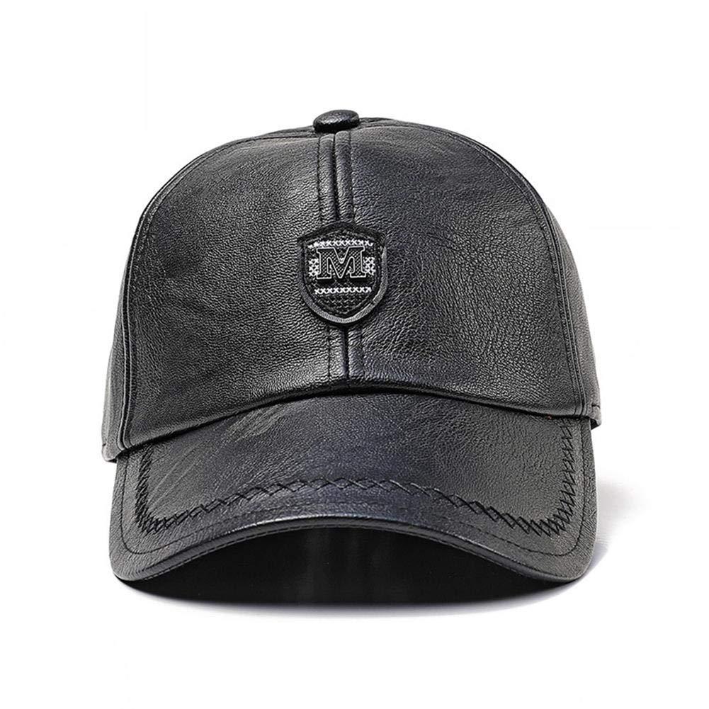 Storagc Cuffia da uomo paraorecchie in pelle berretto da baseball invernale  outdoor caldo e antivento cappello 7f2702a0cf47