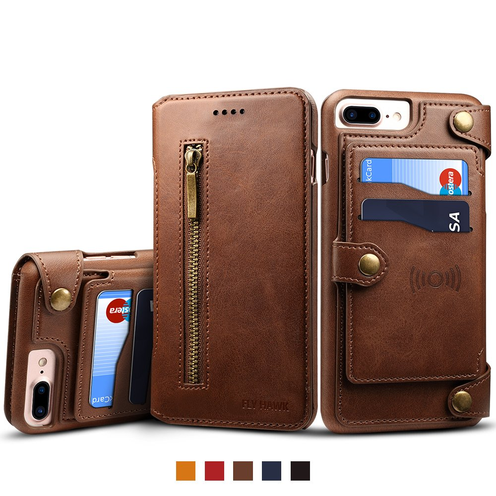 Iphone 6 Plus Leather Magnetic Phone Case Wallet Flip Card Holder Cover, Brown FLY HAWK KDS03281-ZongSe-iPhone6P@#CAGDF