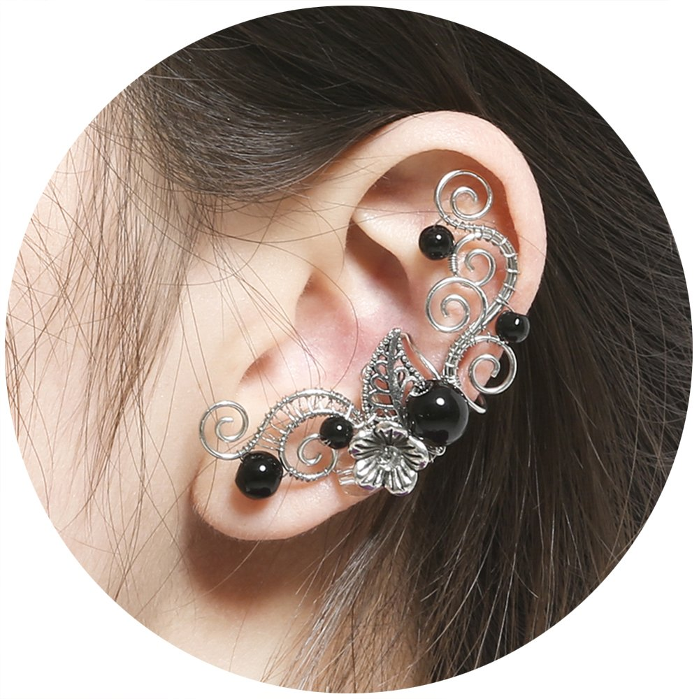 Aifeer Flower Beads Elven Ear Cuffs Silver Filigree Fairy Elf Ear Cuffs Fantasy Cosplay Costume Handcraft Earrings for Non-Pierced Ears (Black)
