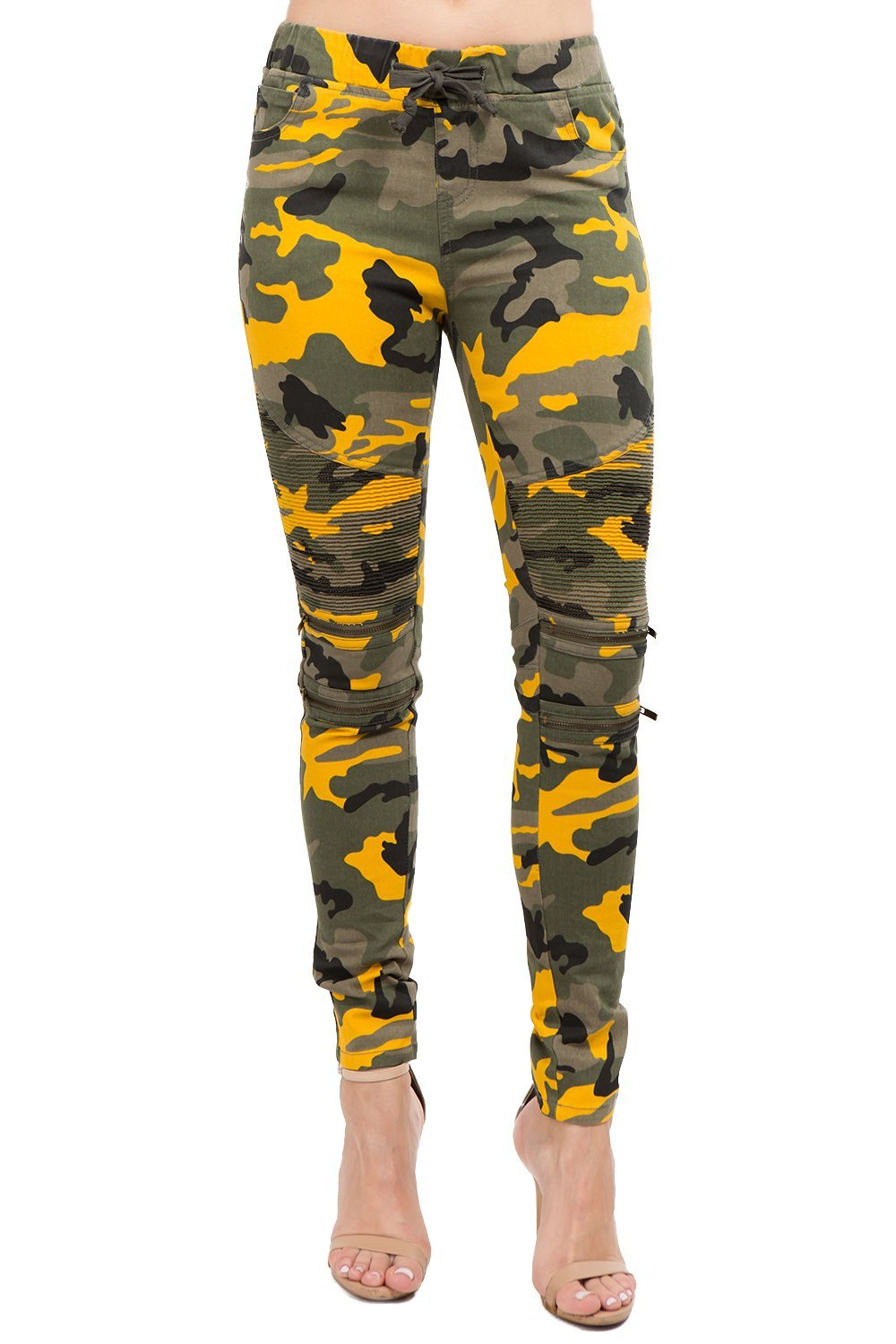 TwiinSisters Women's Camo Print Moto Slim Fitted Draw String Jogger Pants with Comfortable Stretch - Size Small to 3X