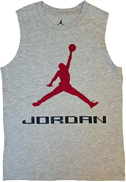 a72f5e5849e Nike Air Jordan Boys Jumpman Logo Tank Top Shirt (Grey Heather, Small)