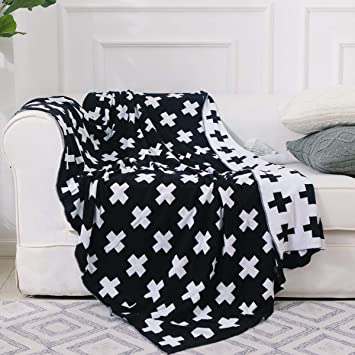 Fine Dokot Black And White Throw Blanket Swiss Cross Pattern 100 Cotton Knitted 43X51 Inches Swiss Cross Gmtry Best Dining Table And Chair Ideas Images Gmtryco