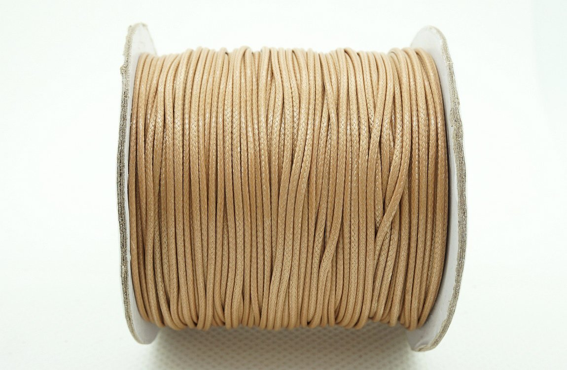 TAN 1mm Faux Imitation Leather Polyester Braided Cord Macrame Bracelet Thread Artisan String (100yards Spool) Craft & Beads Inc