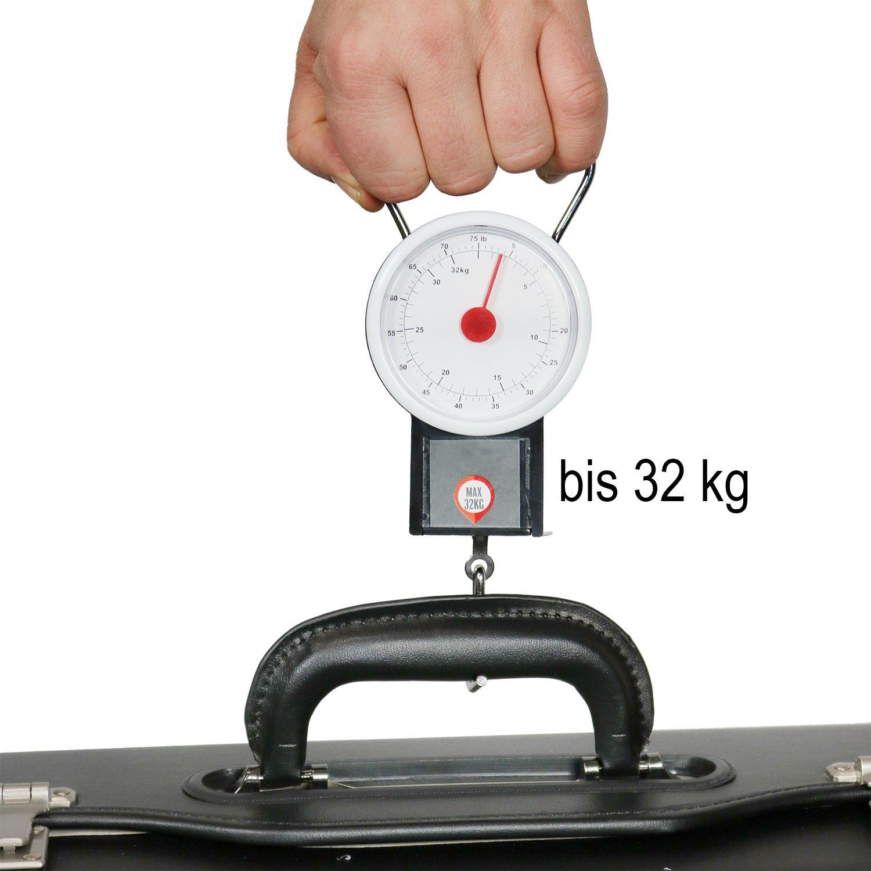 com-four® Báscula para Equipaje de hasta 32 kg con Pantalla analógica, báscula para Equipaje con Cinta métrica de 1 Metro, 19,5 x 7,5 cm (01 Pieza - 32 kg ...