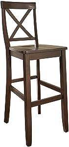 Crosley Furniture X-Back Bar Stool (Set of 2), 30-inch, Vintage Mahogany