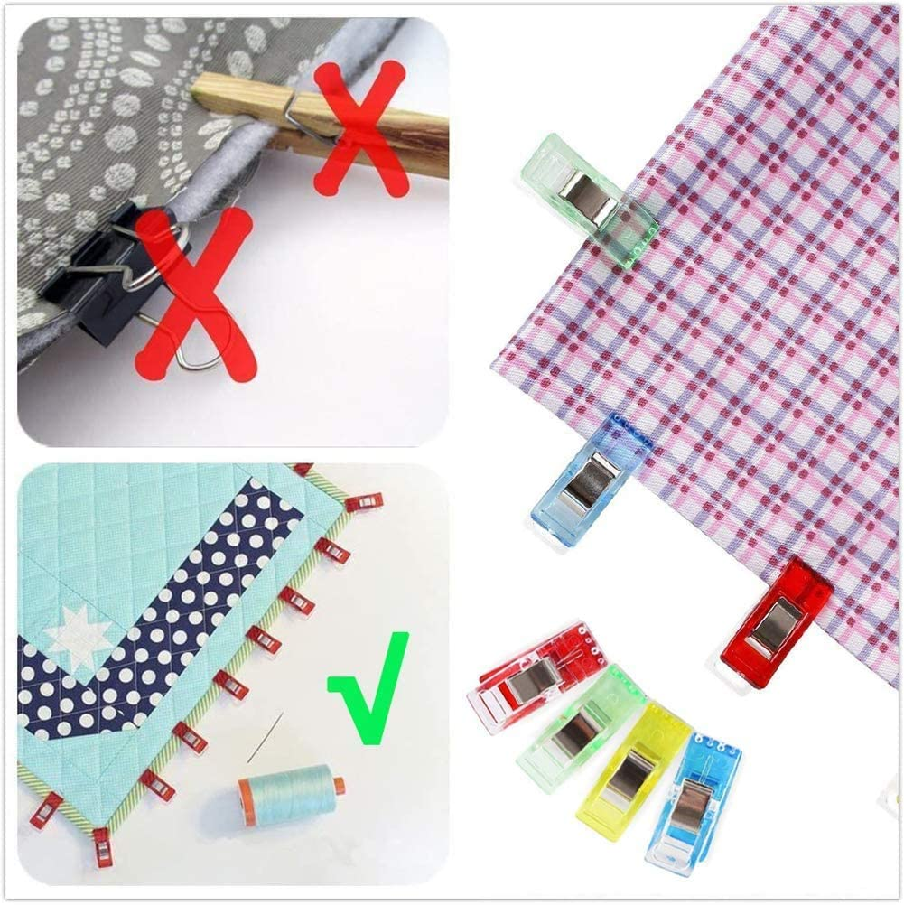50Pcs Sewing Clips Craft Quilt Binding Clips with 5pcs Patchwork Cotton Cloth for DIY Sewing Craft 50x50cm