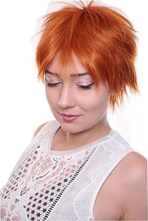 Prettyland C1419 Kurze Perucke Kurzhaar Frisur Gestuft Pixie Fransig Alltag Damen Herren Wig Rot Orange
