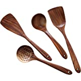 Wooden Cooking Utensils Kitchen Utensil,NAYAHOSE Natural Teak Wood Kitchen Utensils Set - Nonstick Hard Wooden Spatula and Wo