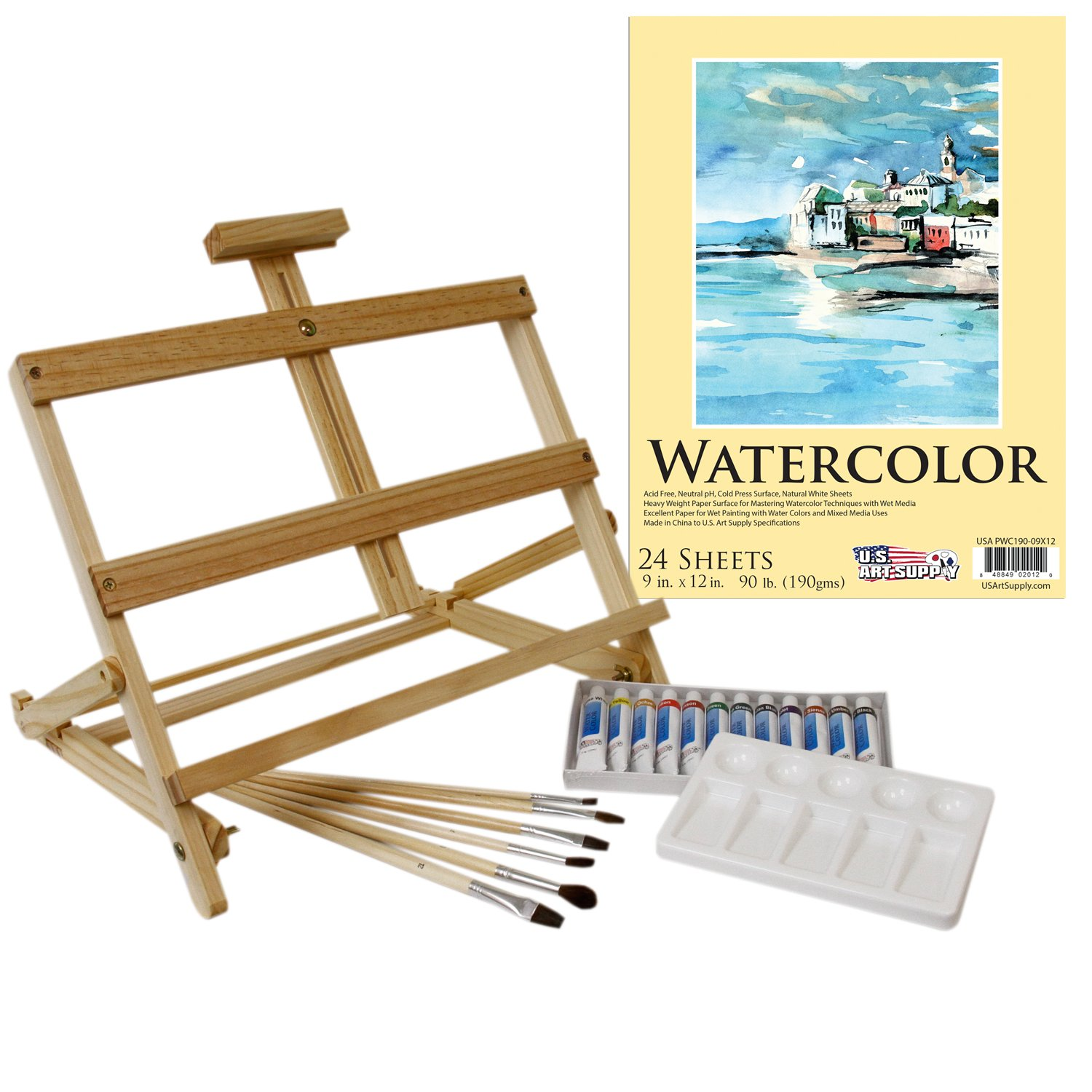 US Art Supply 21-Piece Watercolor Painting Set with Table Easel PS-072