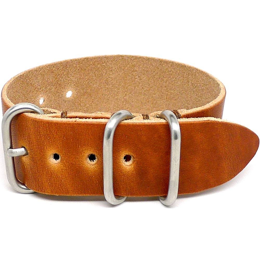 DaLuca 1 Piece Military Watch Strap - Natural Dublin (Matte Buckle) : 18mm by DaLuca