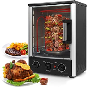 Nutrichef Upgraded Multi-Function Rotisserie Oven - Vertical Countertop Oven with Bake,Turkey Thanksgiving, Broil Roasting Kebab Rack with Adjustable Settings, 2 Shelves 1500 Watt - PKRT97