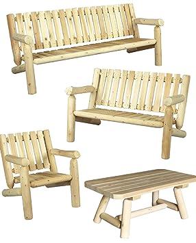 Salon de jardin en bois, fauteuil et canapé, 100% cèdre blanc ...