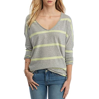 Free People Women's Long-Sleeve Pull-over Upstate Stripe Tee Grey Small at Women's Clothing store