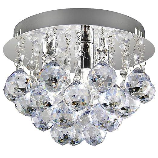 Modern Small Round Chandelier Ceiling Light Droplet Effect Mini Flush Mount Reflective Base M0070