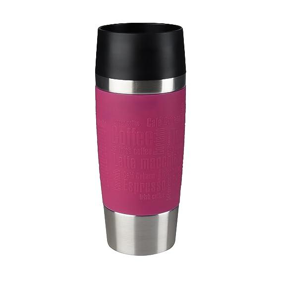 Emsa Isolierbecher Mobil genießen 360 ml Quick Press Verschluss Travel Mug -Violett (Manschette Himbeer)