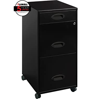 Lorell 17427 3-Drawer Mobile File Cabinet, 18 , 21.80  L x 18.00  W x 33.10  H, Black