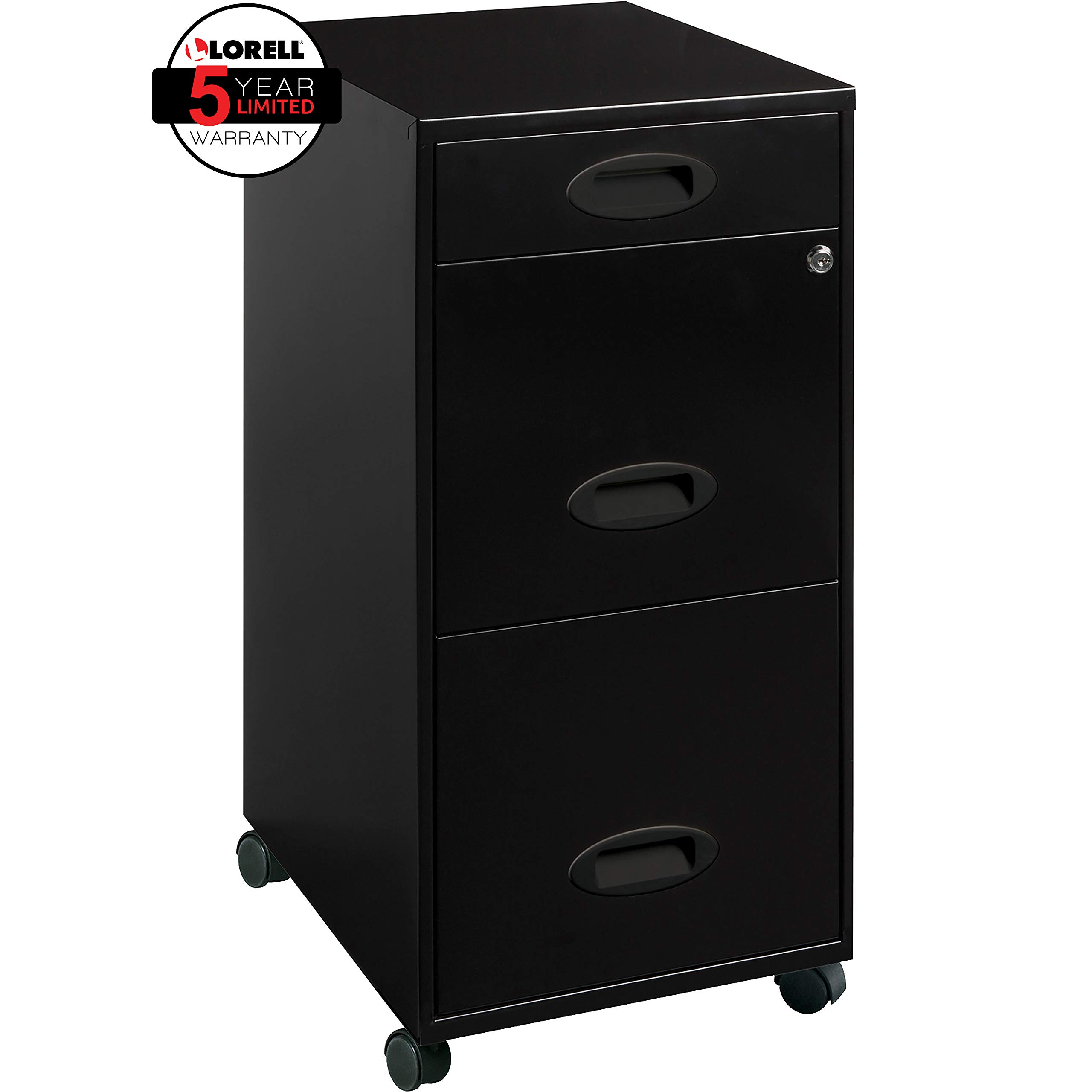 Lorell 17427 3-Drawer Mobile File Cabinet, 18'', 21.80'' L x 18.00'' W x 33.10'' H, Black