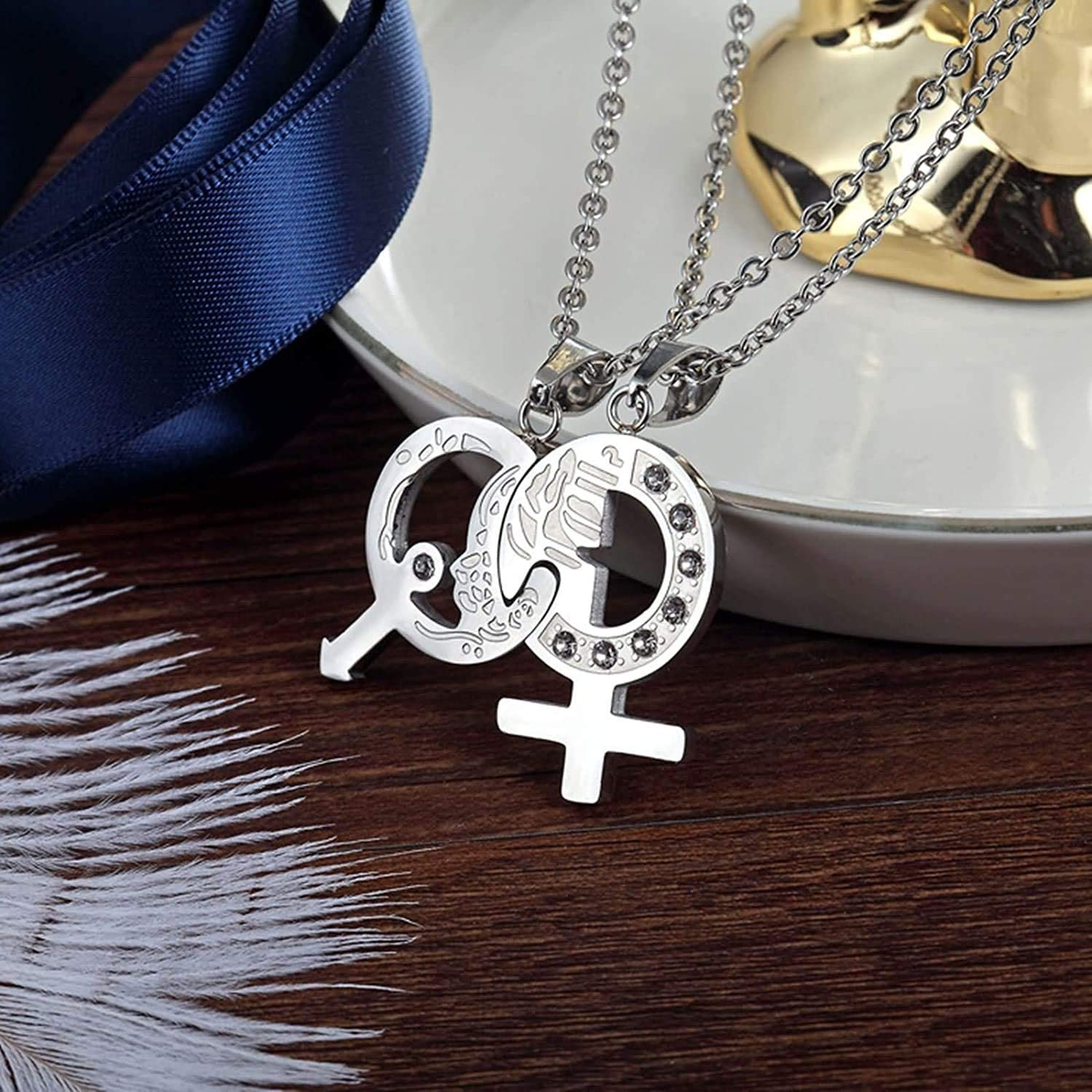Mens Womens Stainless Steel Puzzle Matching Pendant Necklace with Cubic CZ 60CM//24IN LOPEZ KENT 2 Pieces Set Couples Necklace