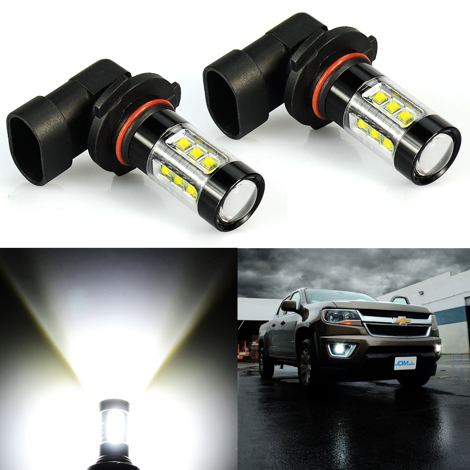 JDM ASTAR Extremely Bright 3200 Lumens Max 80W High Power H10 9145 9140 9050 9155 LED Fog Light Bulbs for DRL or Fog Lights, Xenon White
