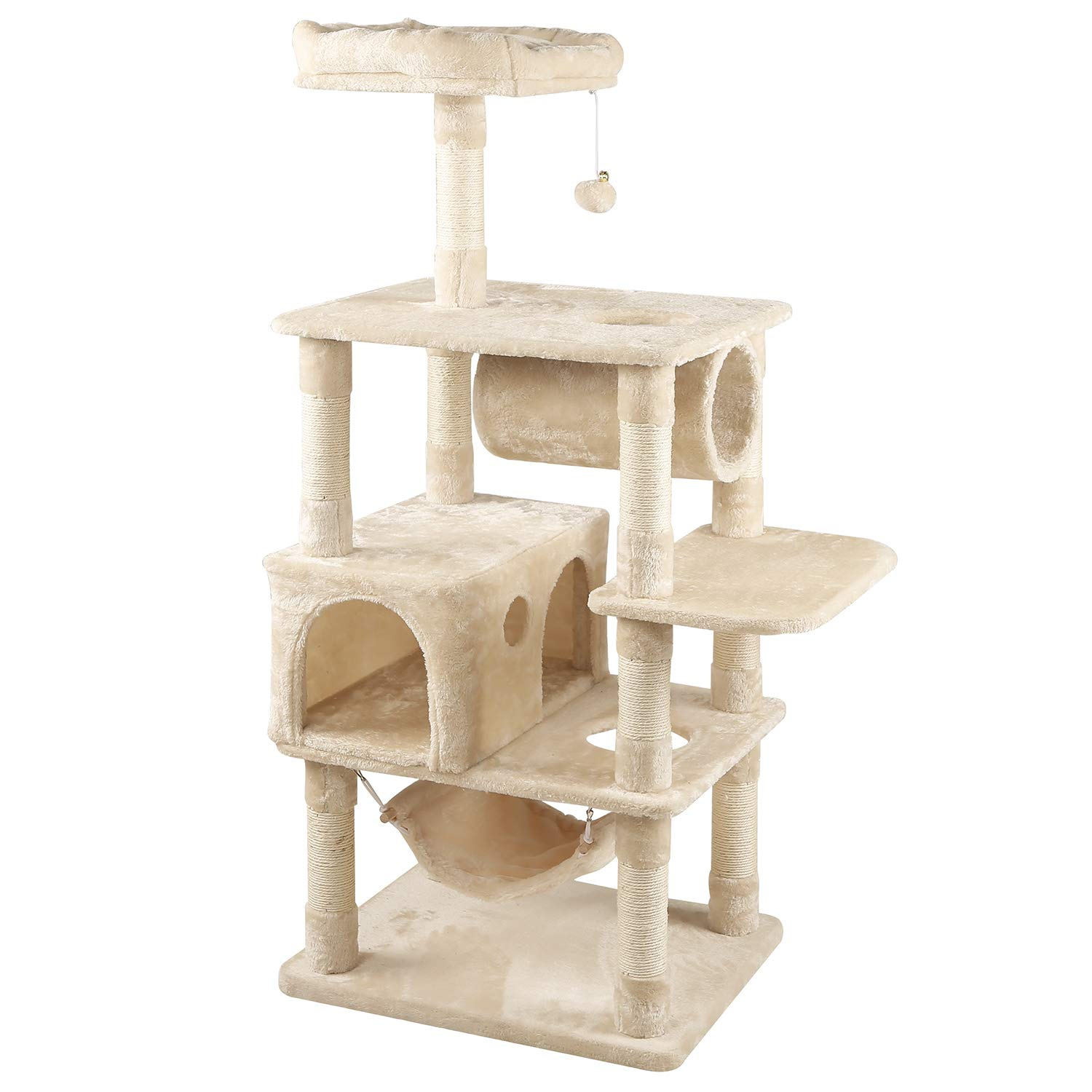 WLIVE 59'' Cat Tree Condo with Sisal Scratching Posts, Spacious Condo and Curious Tunnel, Cat Tower Furniture WF063A