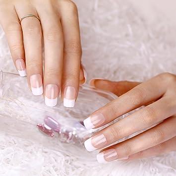 ArtPlus Uñas Postizas Falsas Artificial 24pcs x 4 (4-Pack) Natural Nude False Nails Premium Pack French Manicure Full Cover Long Length with Glue Fake Nails ...