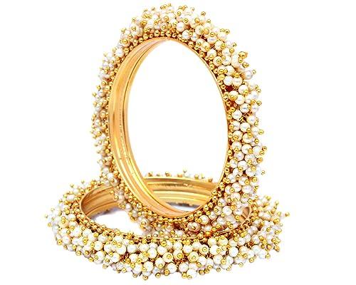 Amazon Com Sanara Indian Style Gold Plated Pearl Studded Bracelets