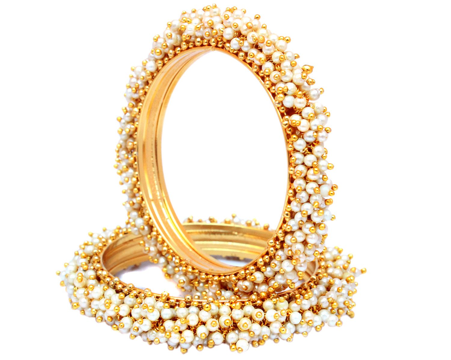 Indian Style Gold Plated Pearl Studded Bracelets Bangle Set Wedding Jewelry For Women (2.4)