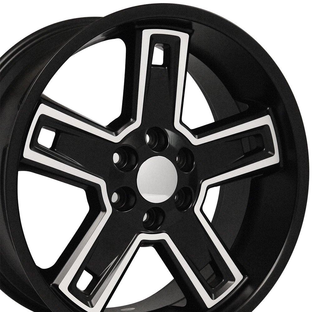 22x9.5 Wheel Fits GM Trucks & SUVs - Chevy Silverado Style DD Black Rim w/Mach'd Face, Hollander 5664