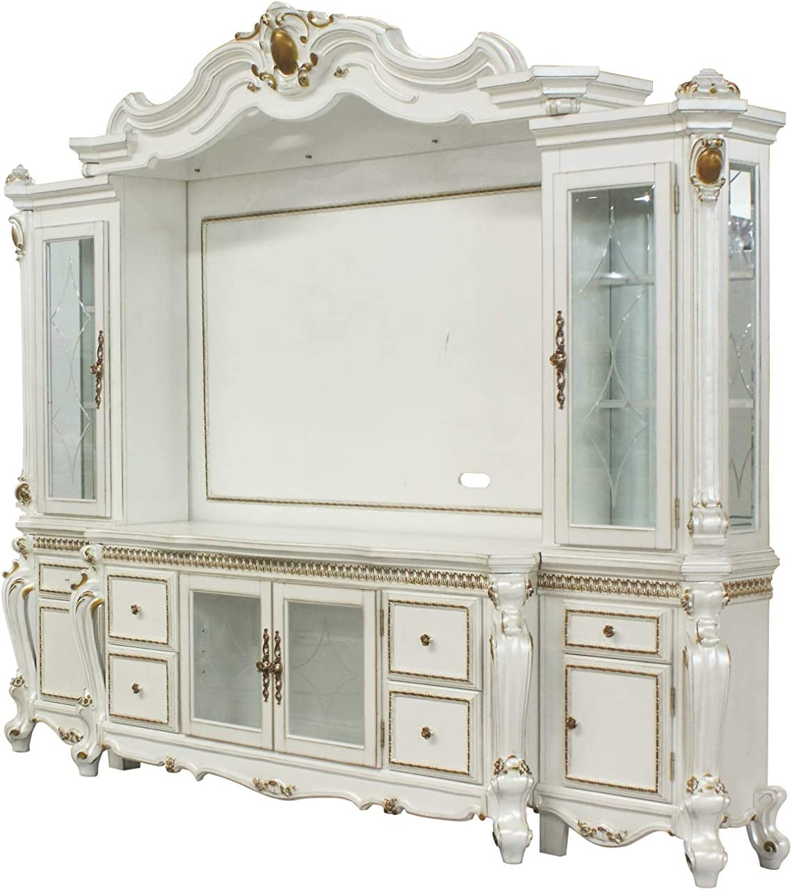 Acme Furniture Picardy 1 Entertainment Center, Antique Pearl