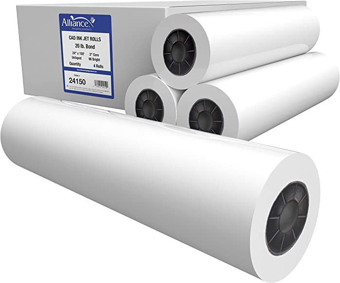 "Alliance CAD Paper Rolls, 24"" x 150', 96 Bright, 20lb - 4 Rolls Per Carton - Ink Jet Bond Rolls with 2"" Core"