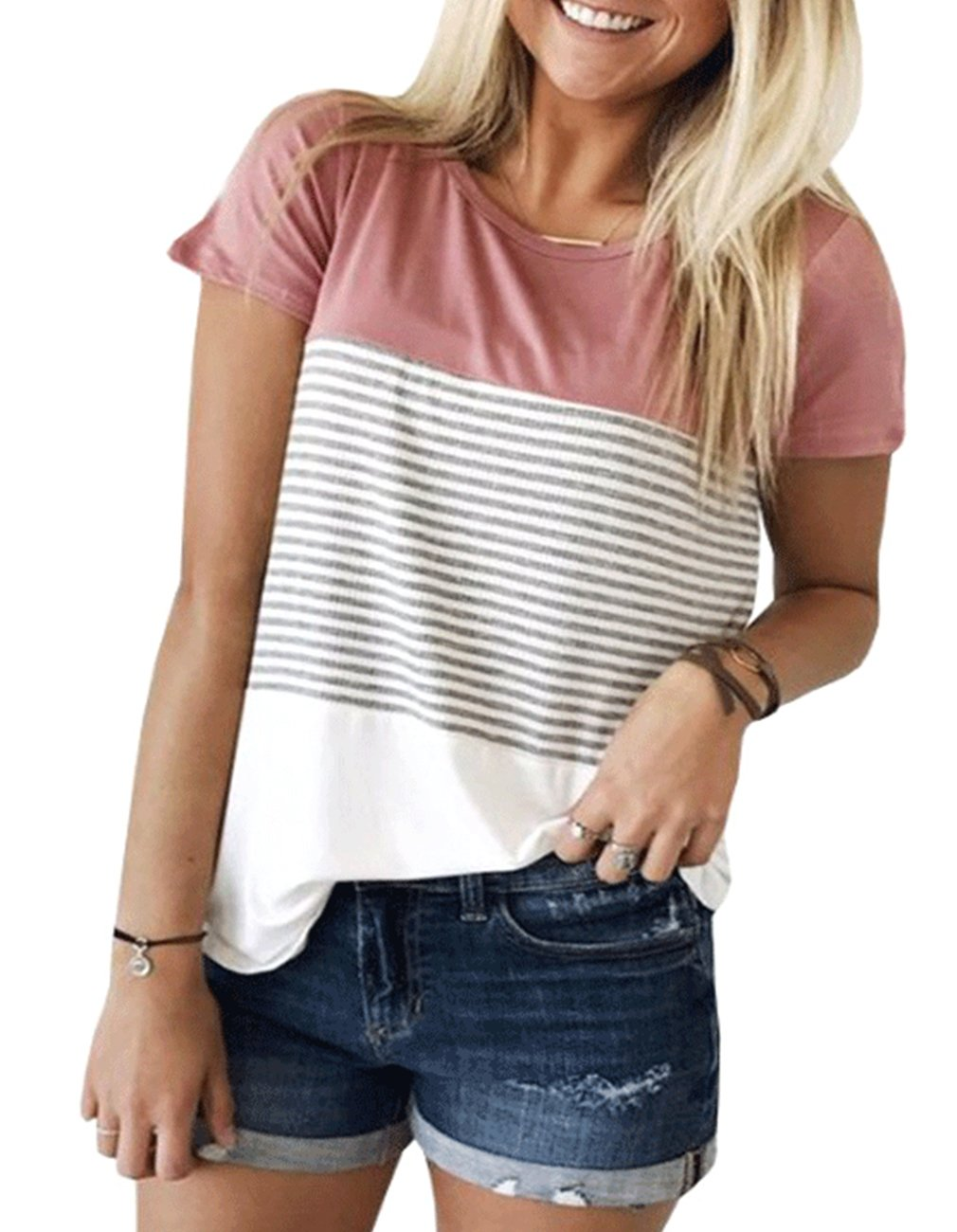 Miskely Women's Summer Short Sleeve Striped Blouse Junior Casual Tunic Tops T-Shirt (Small, Peach Pink)