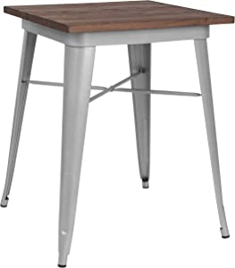 Taylor + Logan 23.5 Inch Square Metal Indoor Table with Walnut Rustic Wood Top, Silver