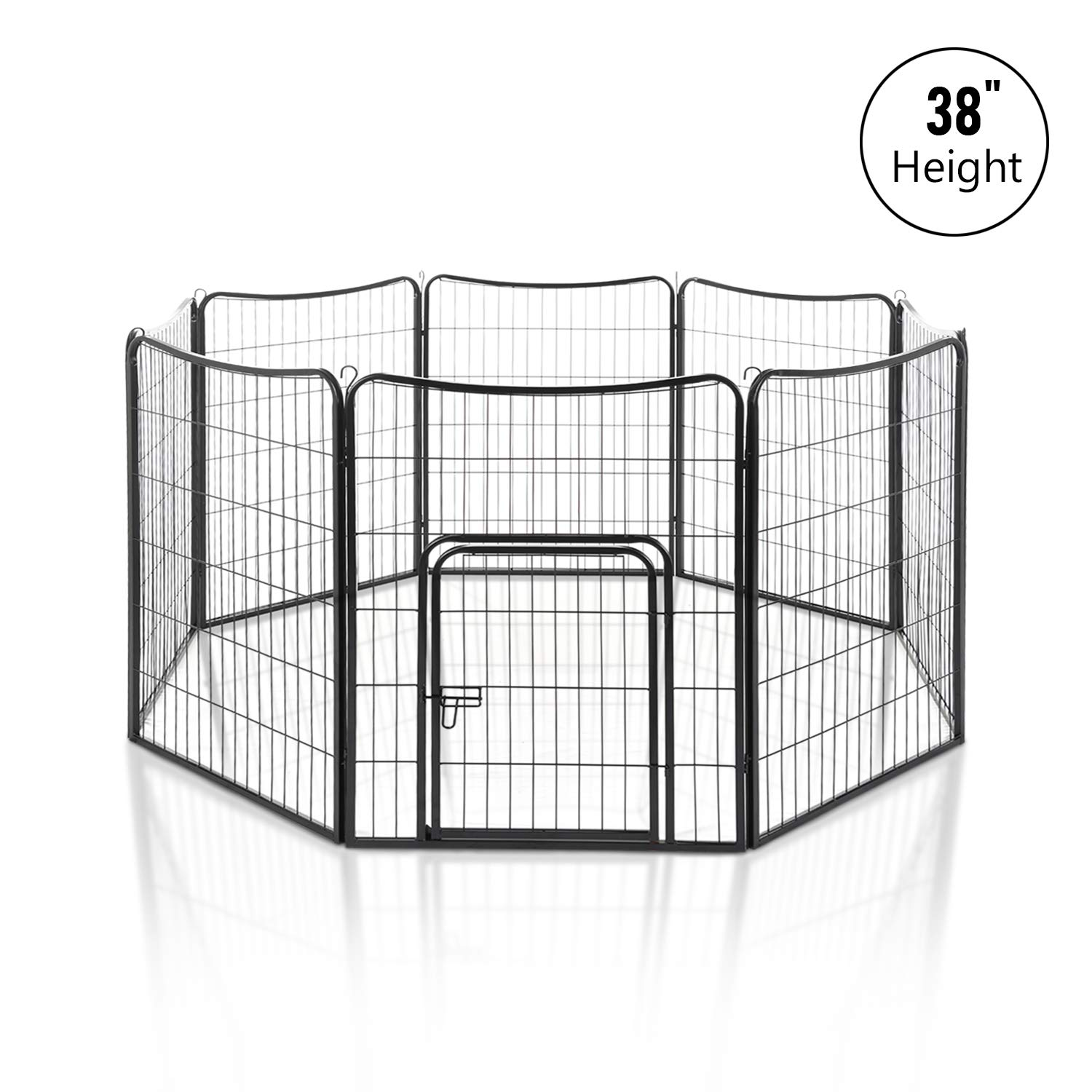 """LAZY BUDDY 38"""" Dog Playpen, 8 Pannels Fordable Heavy Duty Pet Excerise Pen for Small/Big Dogs and Other Pets."""