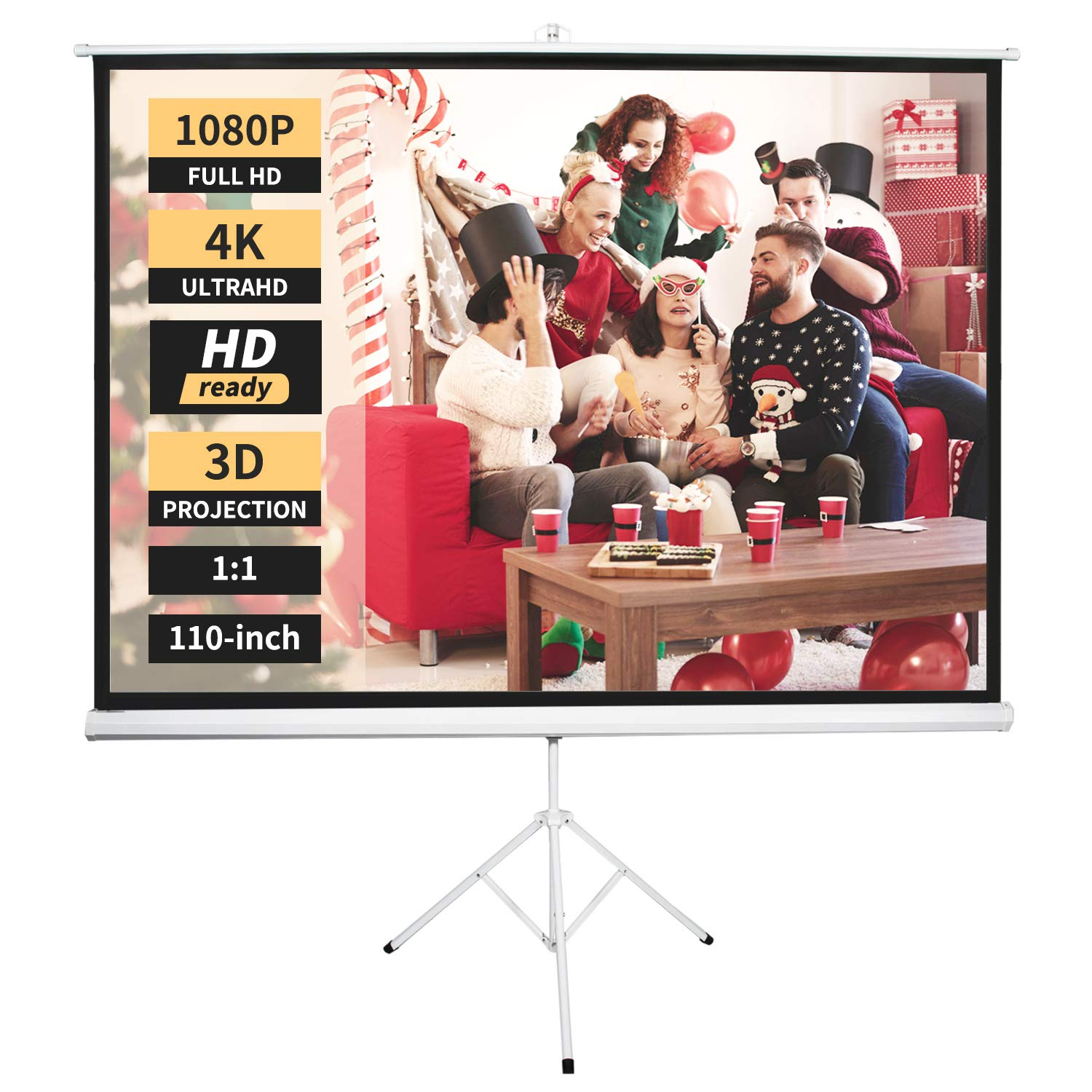 Neewer Projector Screen with Stand, Indoor Outdoor Projection Screen 4K HD 110-inch with Premium Wrinkle-Free Design: 1.1 Gain, 160° Viewing Angle, Foldable Portable (No Carrying Bag)