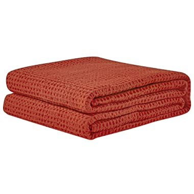 PHF Cotton Waffle Weave Bed Blanket Lightweight and Breathable Perfect for Bed Home DecorTwin Size Orange Red