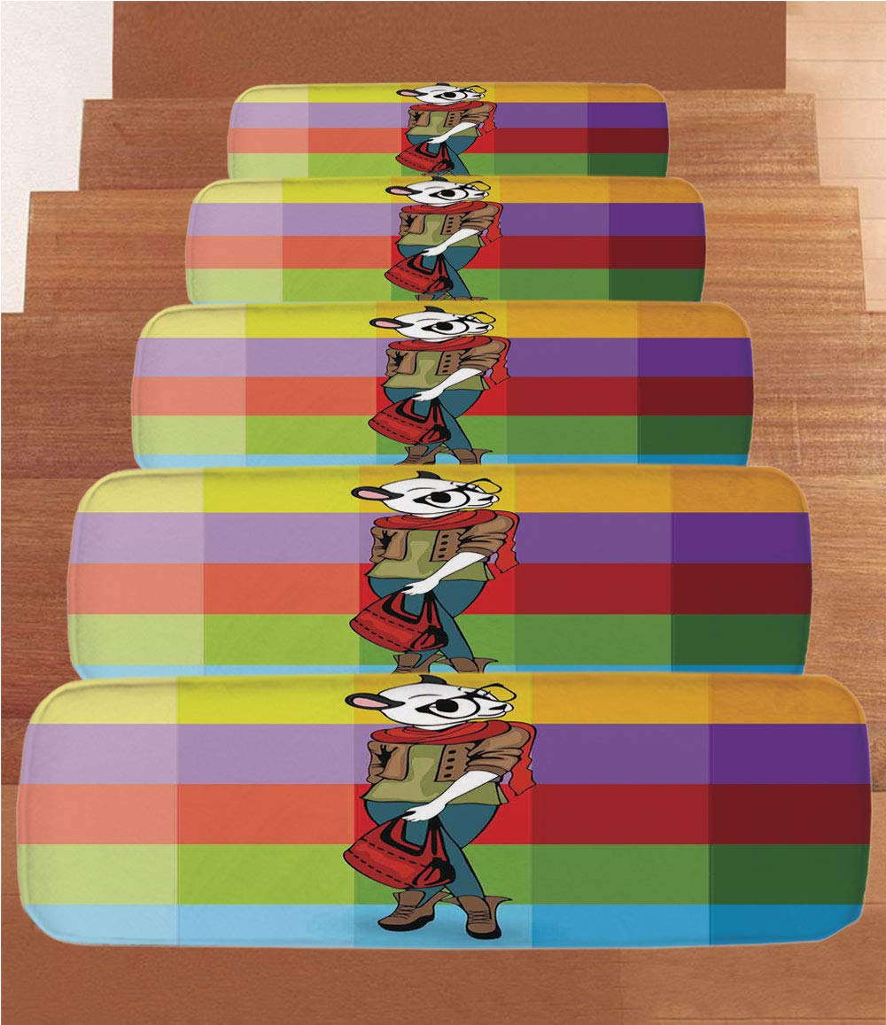 iPrint Non-Slip Carpets Stair Treads,Fashion House Decor,Cartoon Fox with Chic Clothes in Human Form Animal Fashion Theme,Purple Green,(Set of 5) 8.6''x27.5''