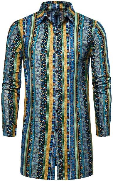Blazer Hombre Otoño Invierno Nacionalidad Suelta Impreso Chaqueta De Cuero para Mujer Manga Larga Outwear Camisa Blusa: Amazon.es: Ropa y accesorios