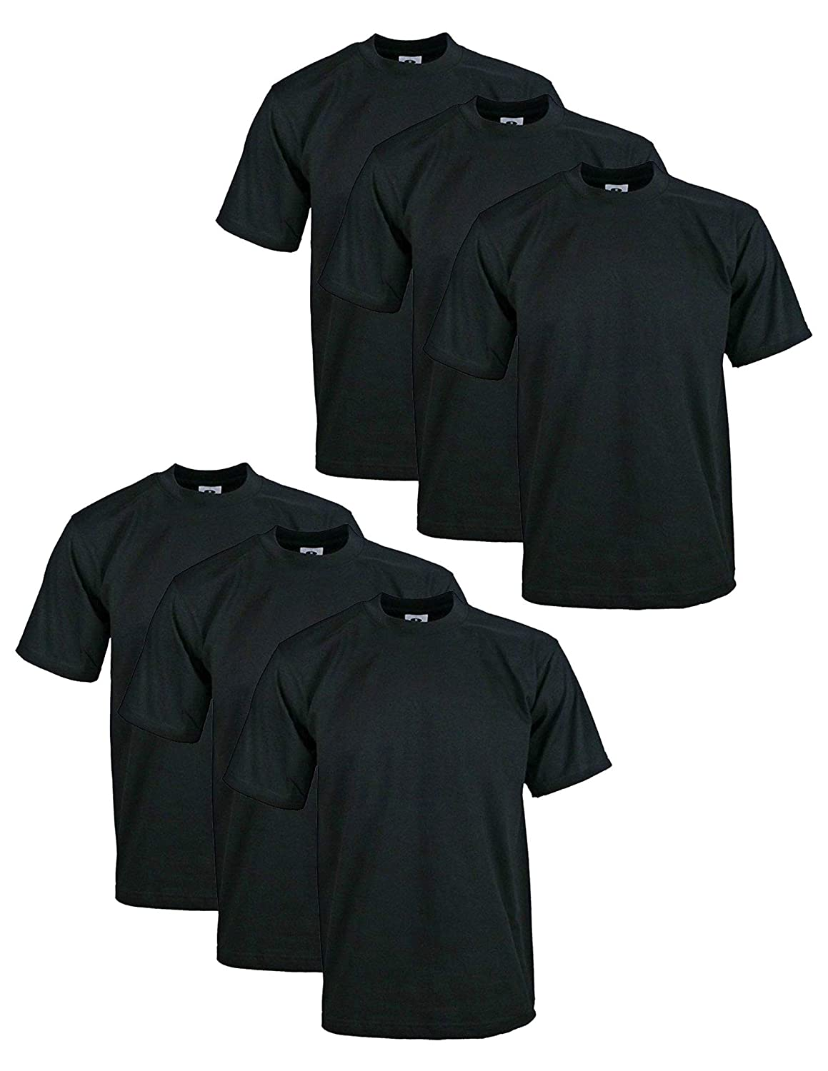 1097fee54 Pro Club Men's Pack of 6 Heavyweight Cotton T-Shirt 3XL (Black): Amazon.ca:  Clothing & Accessories